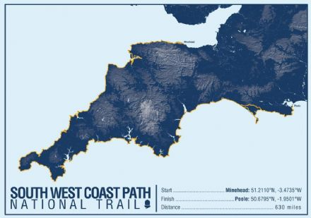 South West Coast Path National Trail Map Print